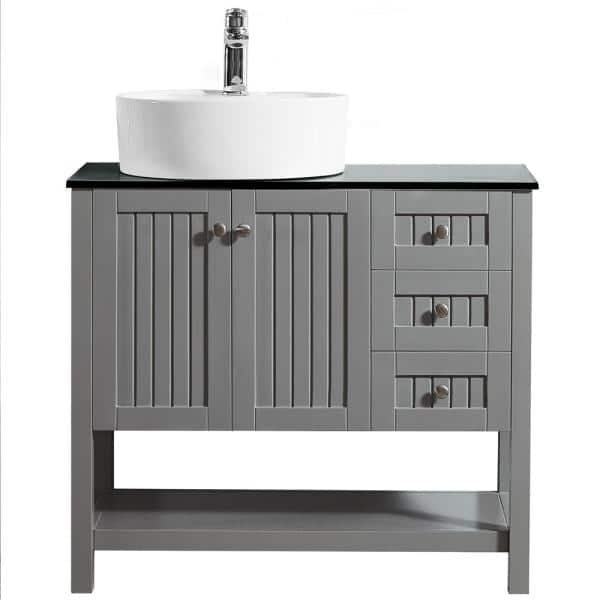 Roswell Modena 36 In Bath Vanity In Grey With Tempered Glass Vanity Top In Black With White Vessel Sink 856036p Gr Bgn The Home Depot