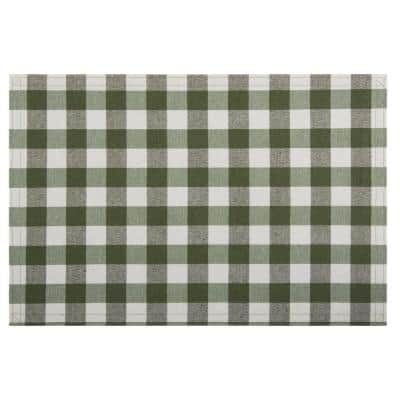Buffalo Check 18 in. x 12 in. Greens Sage Checkered Cotton/Polyester Placemats (Set of 4)