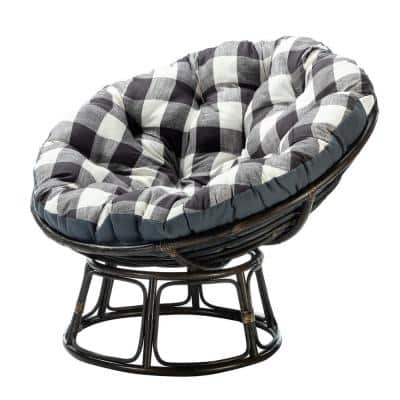 Alica Taupe Base Accent Papasan Chair with Grey Cushion