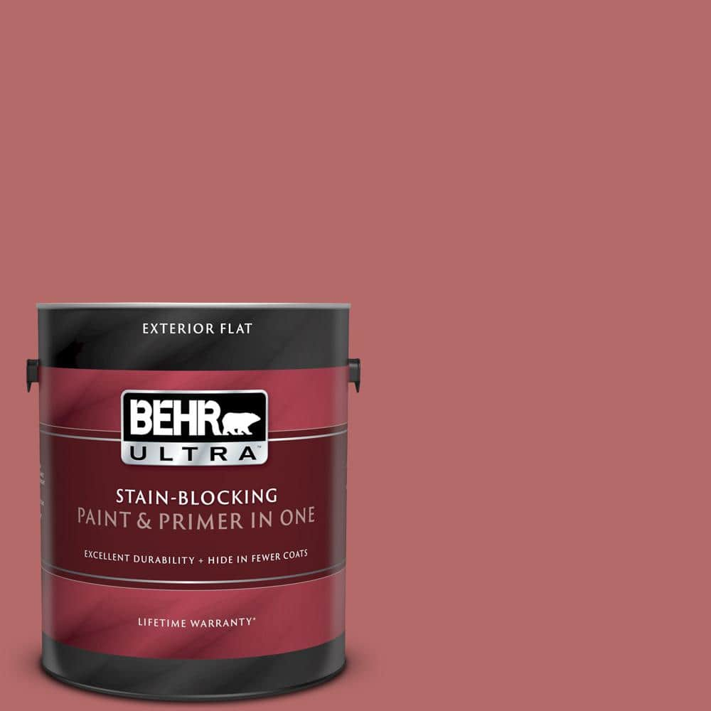 Behr Ultra 1 Gal Pmd 12 Desert Rose Flat Exterior Paint And Primer In One 485301 The Home Depot