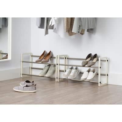 20-Pair White Expandable Shoe Rack