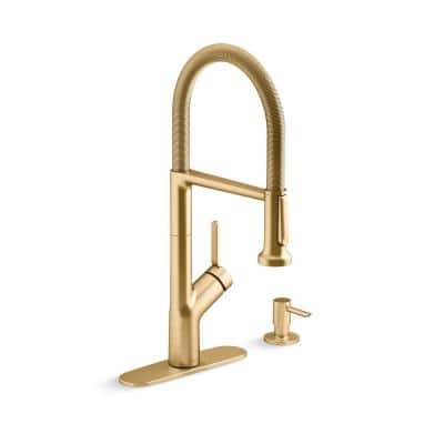 Setra Single-Handle Semi-Professional Kitchen Sink Faucet with Soap Dispenser in Vibrant Brushed Moderne Brass