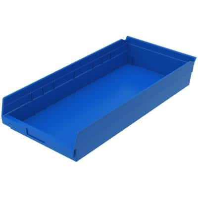 Akro Mils Shelf Bin 20 Lbs 23 5 8 In X 11 1 8 In X 4 In Storage Tote In Blue With 2 5 Gal Storage Capacity 30174blue The Home Depot