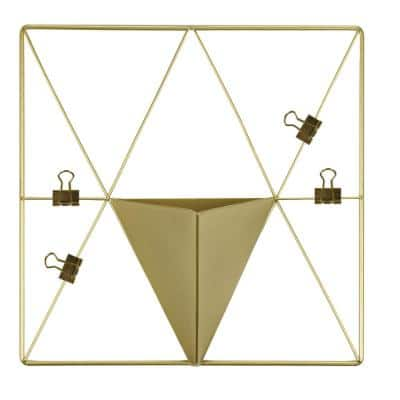Gold Triangle Metal Grid with Pocket Wall Organizer