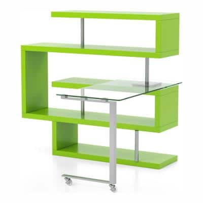 Hampden 90.5 in. Green and Chrome Rectangular Computer Desk with 4-Shelf