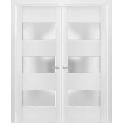 Lucia 4070 56 in. x 96 in. Frosted Glass White Double French Doors with Hardware