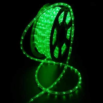 Outdoor 100 ft. 110-Volt Plug-In Green Color Changing Light LED Rope Light