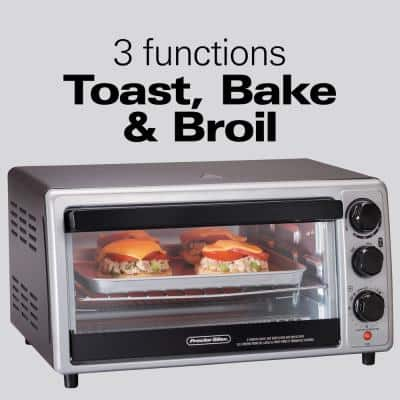 1500-Watt 6-Slice Silver Toaster Oven with Toast, Bake and Broil Settings