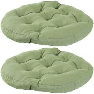 Olefin Solid Green Round Tufted Large Floor Cushion (Set of 2)