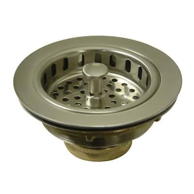 Heavy-Duty 4.5 in. D. Brass Kitchen Sink Waste Basket in Brushed Nickel