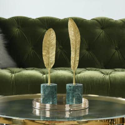 Flight Feathers Gold Copper and Green Marble Decorative Object (Set of 2)