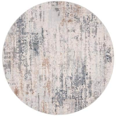 Invista Cream/Gray 7 ft. x 7 ft. Round Distressed Abstract Area Rug