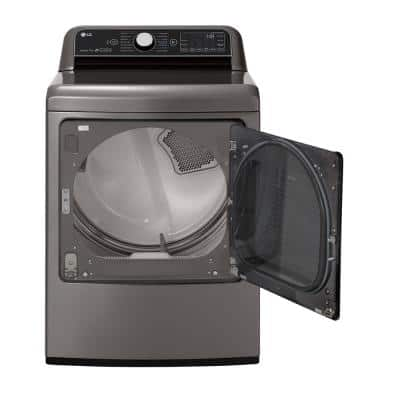 7.3 cu. ft. Ultra Large Graphite Steel Smart Gas Vented Dryer with EasyLoad Door, TurboSteam & Wi-Fi Enabled
