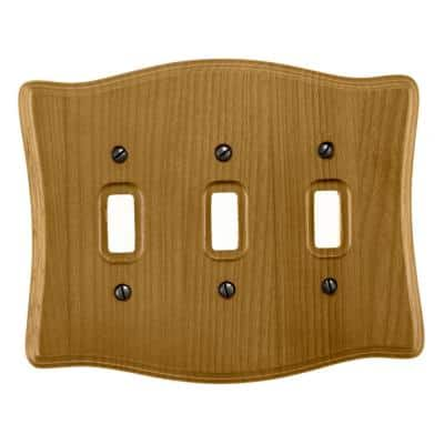 Austin 3 Gang Toggle Wood Wall Plate - Tavern Oak