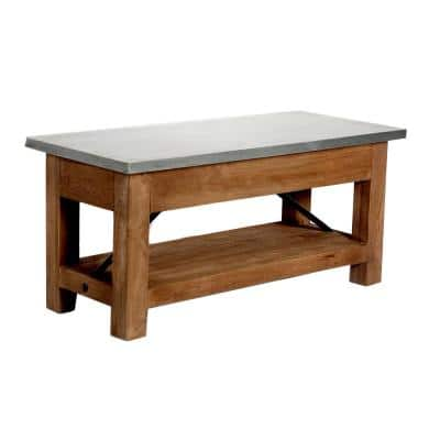 Millwork Wood and Zinc Metal 40 in. Bench with Shelf