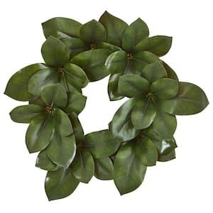 Indoor 22 in. Magnolia Leaf Artificial Wreath