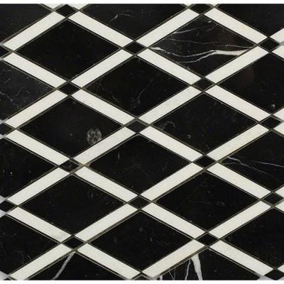 Grand Nero 11 in. x 12 in. x 10 mm Polished Marble Mosaic Tile