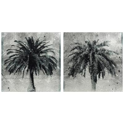 Palm Trees Silver Leaf Reverse Printed Tempered Glass Diptych Unframed Abstract Wall Art 24 in. x 24 in. Each Piece