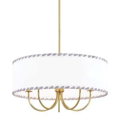 Hannah 5-Light Aged Brass Chandelier with Off White Shade
