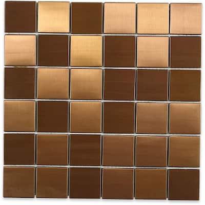 Metal Copper 2 in. Squares 12 in. x 12 in. x 8 mm Stainless Steel Backsplash Tile