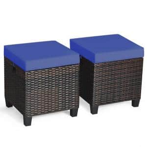 2-Piece Wicker Outdoor Patio Ottoman with Navy Cushions