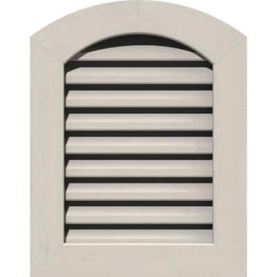 17 in. x 23 in. Round Top Primed Smooth Western Red Cedar Wood Paintable Gable Louver Vent