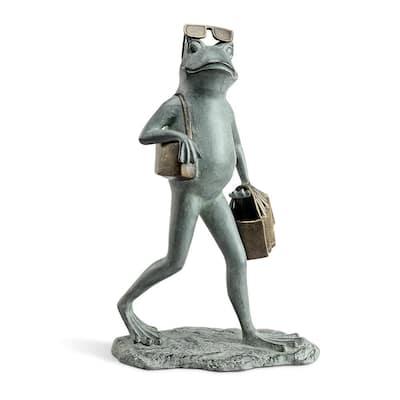 Suave Shopper Frog Garden Statue