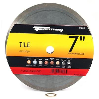 7 in. Continuous Rim Diamond Tile-Cutting Blade