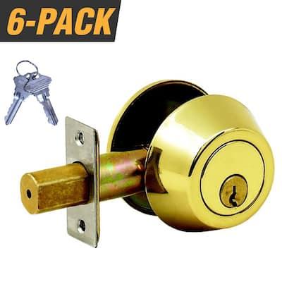 Brass Grade 3 Door Lock Single Cylinder Deadbolt with 12 SC1 Keys (6-Pack, Keyed Alike)