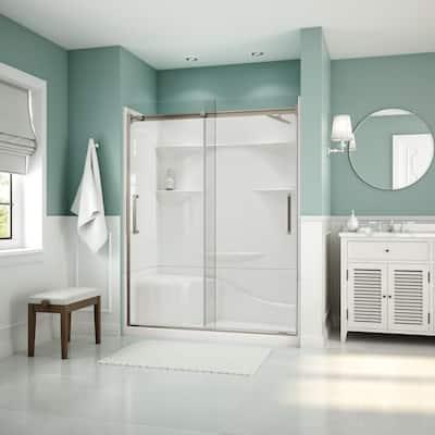 Artesia 56 in. - 59 in. x 74 in. Frameless Sliding Shower Door in Brushed Nickle