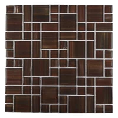 Handicraft Magic Frisco Red Mosaic 12 in. x 12 in. Glass Wall and Pool Tile (15 sq. ft./Case)
