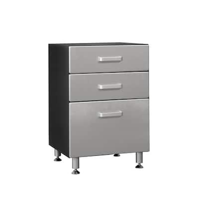 Metallic Series 1-Piece Composite Garage Storage System in Black (24 in. W x 35 in. H x 21 in. D)