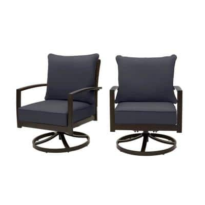 Whitfield Dark Brown Wicker Outdoor Patio Motion Conversation Chair with CushionGuard Midnight Navy Cushions (2-Pack)