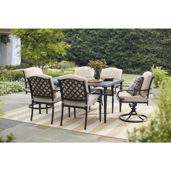 Hampton Bay Laurel Oaks Brown 7 Piece Steel Outdoor Patio Dining Set With Cushion Guard Putty Tan Cushions 525 0200 002 The Home Depot