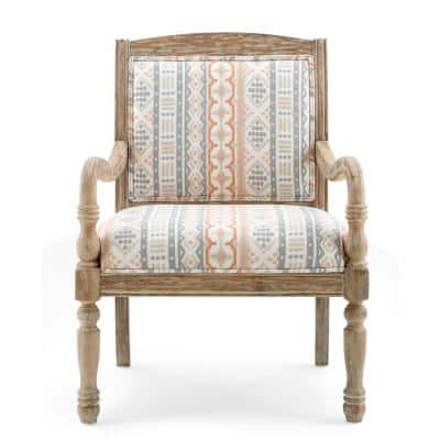 Patterson Natural Wood and Upholstery Accent Chair