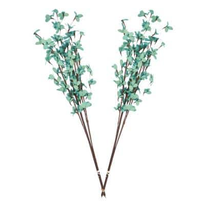 32 in. Teal Palm Lilies Dried Natural (2-Pack)