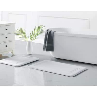 HeiQ White 17 in. x 24 in. Antimicrobial Polyester Memory Foam Bath Rug