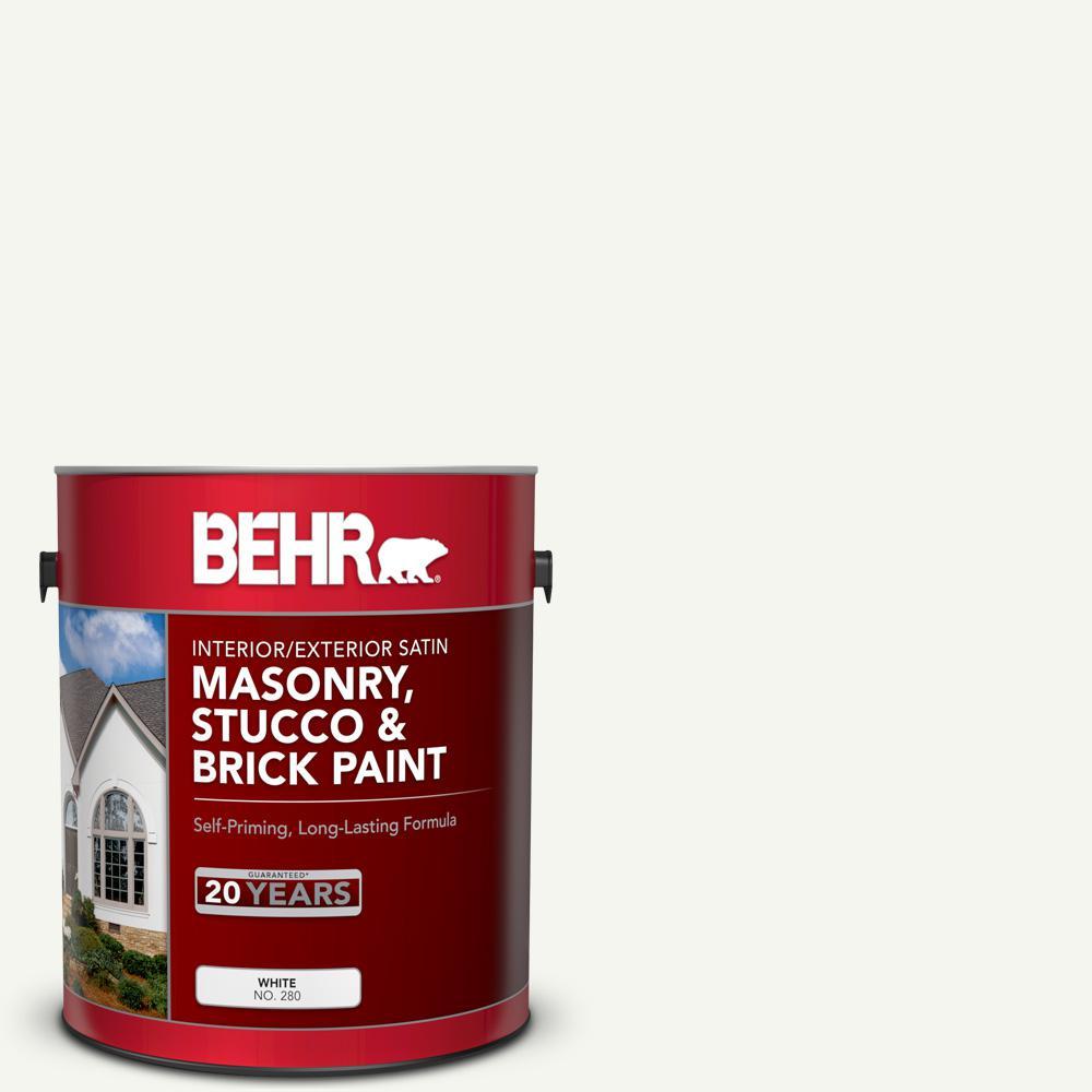 1 gal. #MS-31 White Satin Masonry, Stucco and Brick Interior/Exterior Paint