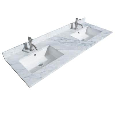 60 in. W x 22 in. D Marble Double Basin Vanity Top in White Carrara with White Basins