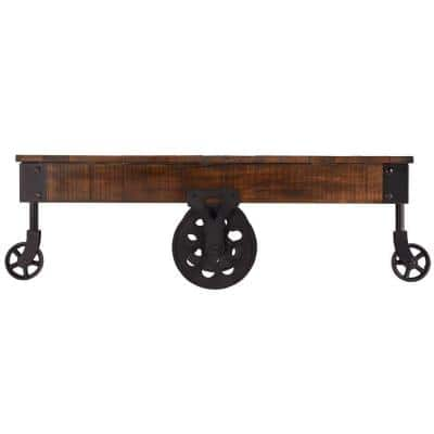Grove 47 in. Distressed Cocoa Large Rectangle Wood Coffee Table with Casters