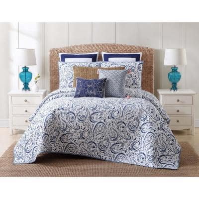 Indienne 3-Piece Blue and White Print Paisley King Quilt Set