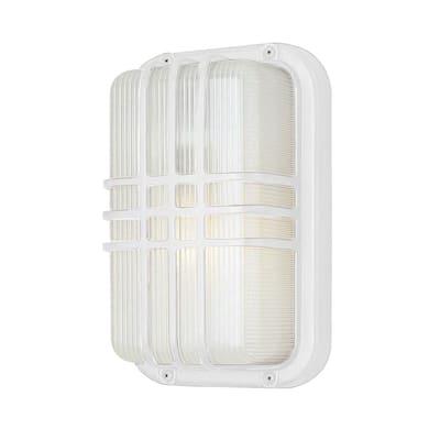 Walker White Outdoor Bulkhead Light with Ribbed Acrylic Shade