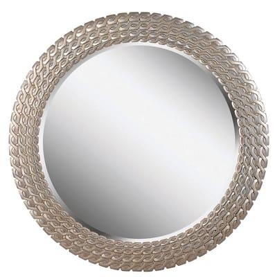 Medium Round Light Gold Beveled Glass Classic Mirror (35 in. H x 35 in. W)