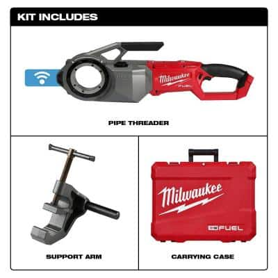 M18 FUEL ONE-KEY Cordless Brushless Pipe Threader (Tool Only) with Support Arm and Case