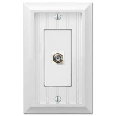 Cottage 1 Gang Coax Composite Wall Plate - White