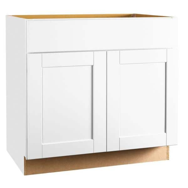 Hampton Bay Shaker Assembled 36x34 5x24 In Sink Base Kitchen Cabinet In Satin White Ksb36 Ssw The Home Depot