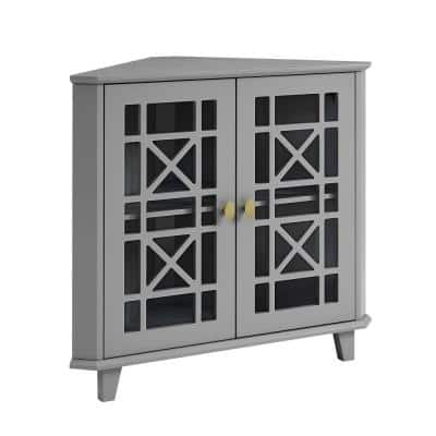 Grey Wood and Glass Corner Accent Cabinet with Fretwork Doors