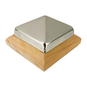 Miterless 4 in. x 4 in. Untreated Wood Slip Over Fence Post Cap with Stainless Steel Pyramid