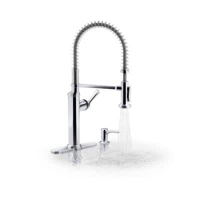 Sous Pro-Style Single-Handle Pull-Down Sprayer Kitchen Faucet in Chrome