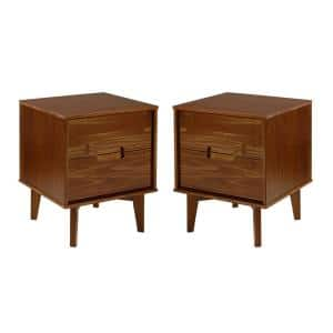 Mid Century Modern 2-Drawer Wood Nightstand (2-Pack) - Walnut